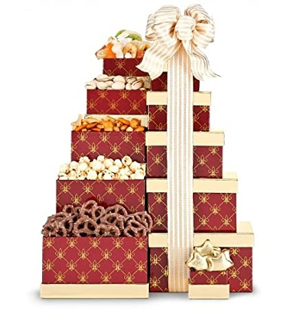 Amazon.com: Tower of Treats. (Gift Tower)- Gift Basket. Holiday ...