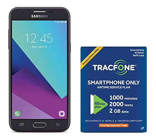 Samsung Galaxy J3 - TracFone Carrier Locked No Contract Preapaid Smartphone with Amazon Exclusive Free $40 Airtime Bundle