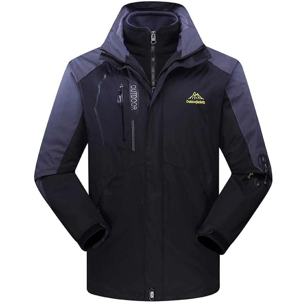 Herren Fleece-Futter 3-in-1Jacket Winter-Wasserdicht Warm Raincoat Ski-Bekleidung windundurchlässiges Mantel Outdoor-Softshell Jacke Wandern Leichte Overcoat Climbing