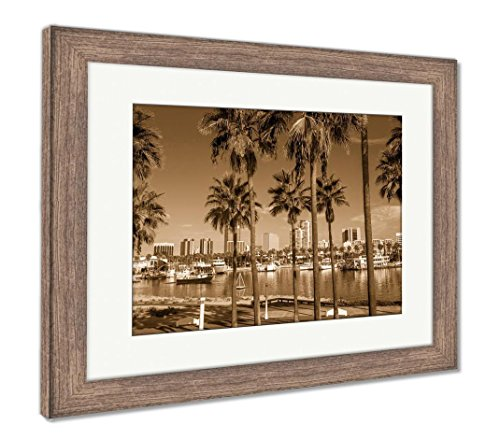 Ashley Framed Prints Long Beach Marina and City Skyline Long Beach Ca, Wall Art Home Decoration, Sepia, 34x40 (Frame Size), Rustic Barn Wood Frame, AG5620096