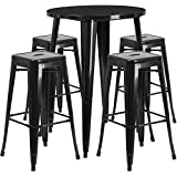 Winston Direct's Leisure Series 30'' Round Metal Bar Height Patio Table Set with 4 Square Seat Backless Barstools - Black Patio Set Powder Coat Finish