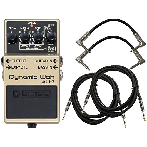 BOSS AW-3 Dynamic Wah Pedal Bundle w/4 Free Cables Aw 3 Dynamic Wah Guitar