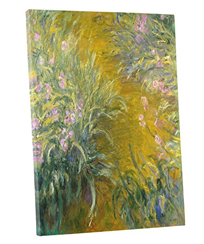 Niwo Art (TM - The Path Through The Irises, by Claude Monet - Oil Painting Reproductions - Giclee Canvas Prints Wall Art for Home Decor, Stretched and Framed Ready to Hang (16
