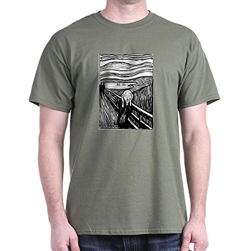 CafePress Munch's Scream Lithograph 100% Cotton T-Shirt Military - Military Lithograph