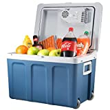 K-box Electric Cooler and Warmer for Car and Home with Wheels - 48 Quart (45 Liter) - 6 FT. Long Cable Dual 110V AC House and 12V DC Vehicle Plugs (Blue)