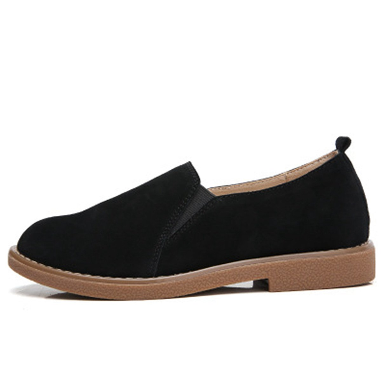 York Zhu Slip-On Loafers Women, Round Toe Solid Flat Black Brown Khaki Moccasins Shoes