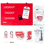 Panduit PSL-KT-PWR Power and Panel Distribution Lockout Kit with components, Red