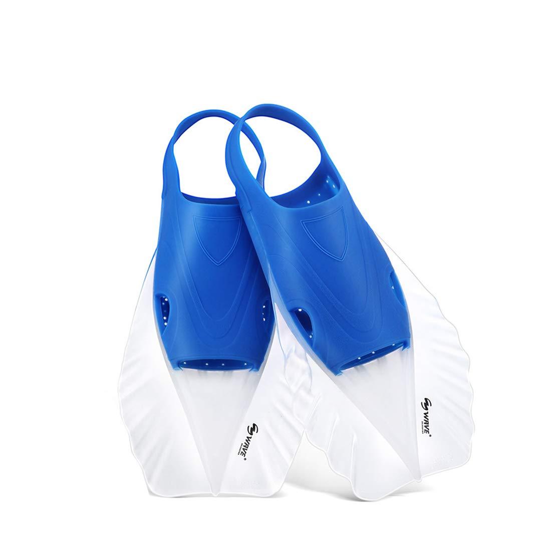Keriya Sende 水生活動のための大人の短い刃の完全なフィートのダイビングのひれのスノーケリングのひれ (Color : オレンジ, サイズ : M) B07PZCPKMG ブルー Medium Medium|ブルー