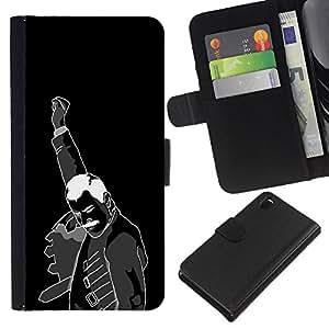 All Phone Most Case / Oferta Especial Cáscara Funda de cuero Monedero Cubierta de proteccion Caso / Wallet Case for Sony Xperia Z3 D6603 // Fist Revolution Man Black White Poster Art