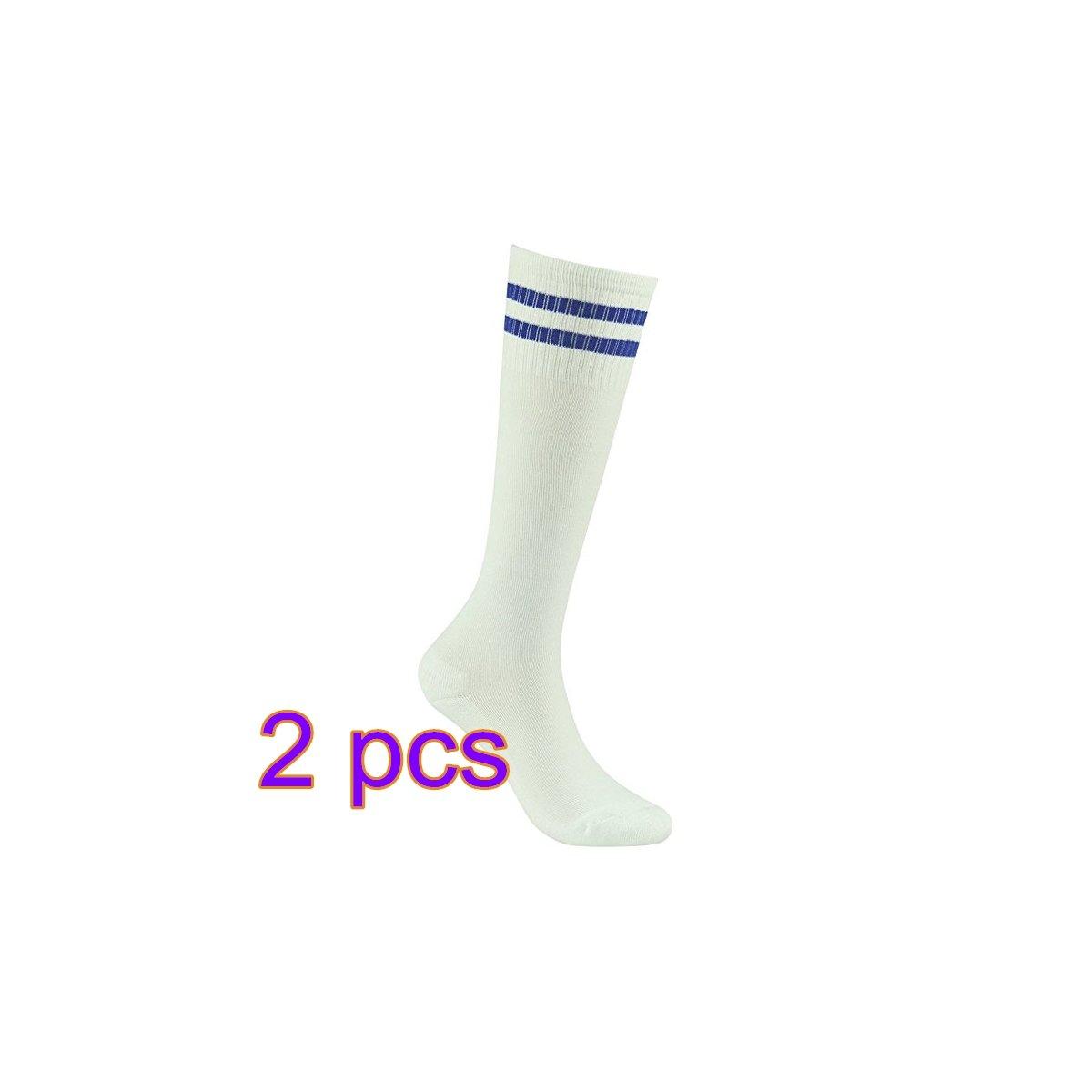 Demarkt Fußball Socken Sport Socken Volleyballsocken Stutzenstrumpf Tanzensocken für Damen und Herren gute Elastizität Streifen Weiß