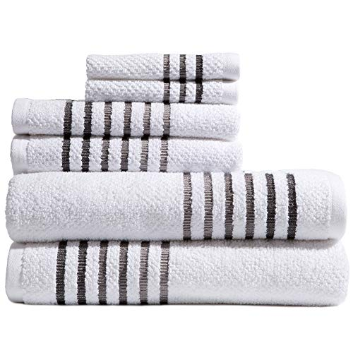 Caro Home Maggie 6 Piece Bath Towel Set – 2 Bath Towels 2 Hand Towels 2 Face Towels – 100% Combed Cotton Premium Quality Solid Color, Thick and Heavy Weight Plush Absorbent 550 GSM