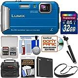 Panasonic Lumix DMC-TS30 Tough Shock & Waterproof Digital Camera (Blue) 32GB Card + Case + Battery + Selfie Stick Monopod + Sling Strap Kit