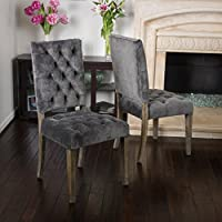 (Set of 2) Myrtle Velvet Charcoal Dining Chair