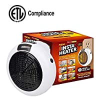 Space Heater, 600W Ceramic Space Heater with Adjustable Thermostat, Safe Over-Heat Protection Heater Fan, Portable Small Electric Heater Fan for Office Home (2)