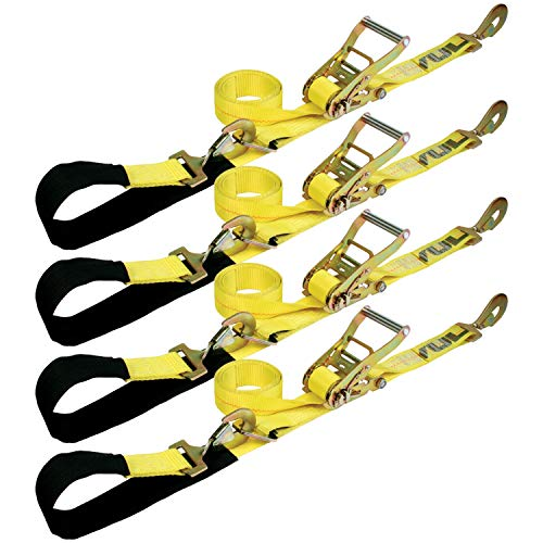 VULCAN 1-Ply Flexible Axle Tie Down Combo Strap with Snap Hook Ratchet - 2 Inch x 114 Inch, 4 Pack - Classic Yellow - 3,300 Pound Safe Working Load