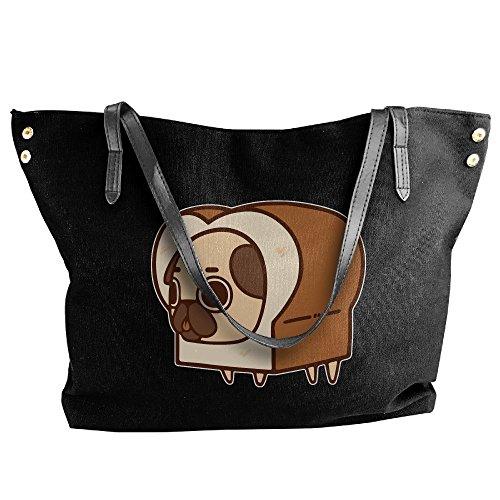 Shoulder Handbag Canvas Cute Black Hobo Bag Tote Sushi Women's Large Messenger Pug Tote dtnUwXqxI