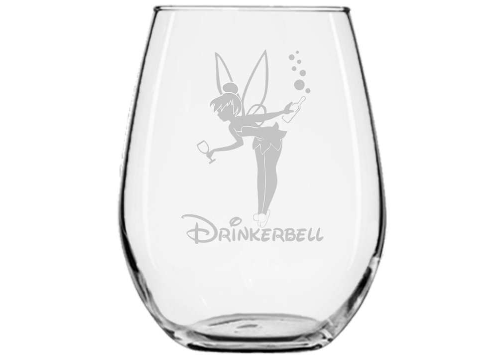 Fairy Gifts ★ Drinkerbell ★ Fairy Wine Glass ★ Permanently Engraved ★ Birthday Present ★ Funny Movie Themed Gifts ★ Couples ★ Handmade Disney Glass ★ Fairy tales
