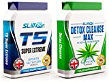 T5 FAT BURNERS x60 + DETOX CLEANSE x60 - T5 Super Extreme Max Strength Thermogenic Fat Burner and Colon Cleanse Detox Capsules - Slimming Diet Pills | Suppress Appetite, Boost Metabolism and Increase Energy for Weight Loss