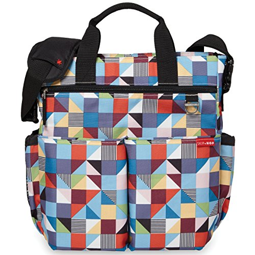 Skip Hop Duo Signature Carry All Travel Diaper Bag Tote with Multipockets, One Size, Prism (Baby Diapers Depot Bags)
