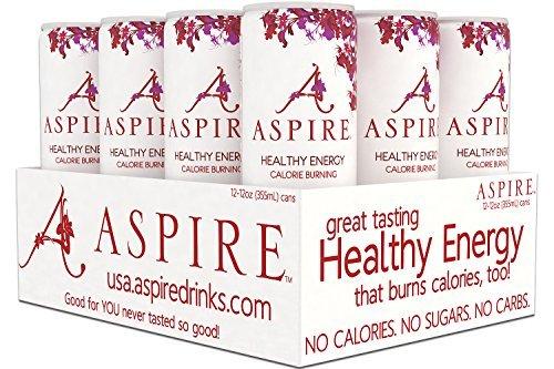 Healthy Beverage (ASPIRE Healthy Energy, Calorie Burning, Zero Calorie, Zero Sugar Drink Cranberry 12 count case)