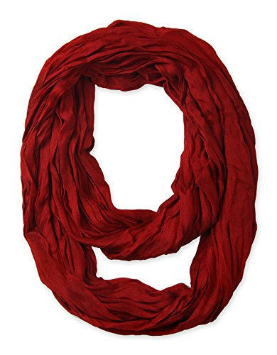 Corciova Silk Cotton Solid Color Light Weight Wrinkled Infinity Loop Scarf Wine Red