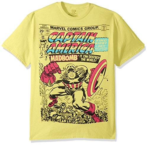 Marvel Men's Super Hero Pastel Short Sleeve Graphic T-Shirts, Captain Yellow, M