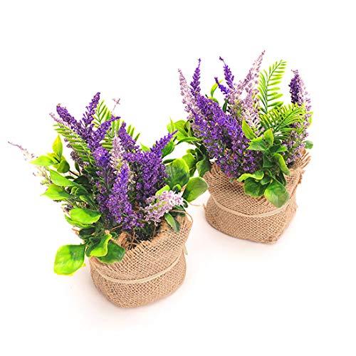 BEGONDIS Set of 2 Artificial Purple Lavender with Flax Bag, Silk Floral Arrangements Artificial Plants, Fake Silk Flowers for Home Decor -