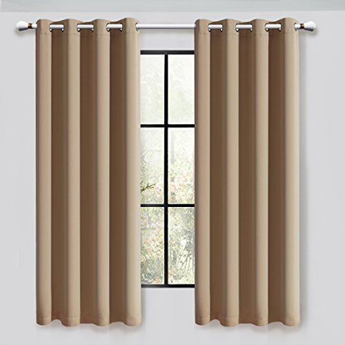 Silver Shimmer Pocket (Maevis Blackout Curtains 2 Panels for Bedroom Window Treatment Thermal Insulated Solid Grommet Blackout Drapes for Living Room (Camel, 52*84inch))