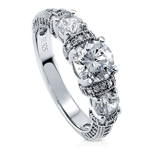 BERRICLE Rhodium Plated Sterling Silver Round Cubic Zirconia CZ 3-Stone Art Deco Milgrain Promise Engagement Ring 1.65 CTW Size 6