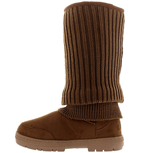 Womens Tall Knitted Cardy Slouch Winter Snow Rain Outdoor Warm Shoe Boots Tan Knitted wLeut