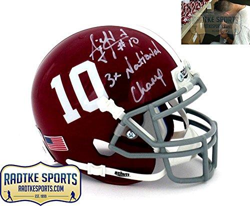 Inscription Helmet - AJ McCarron Autographed/Signed Alabama Crimson Tide Schutt #10 Mini Helmet with