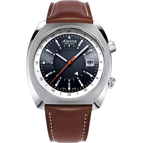 Reloj deportivo automático suizo de acero inoxidable Alpina para hombre con correa de cuero, negro, 23 (modelo: AL-555DGS4H6)