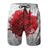 Mens Drawing Japan Flag Art Hawaiian Shorts Elastic Waist Quick Dry Board Shorts