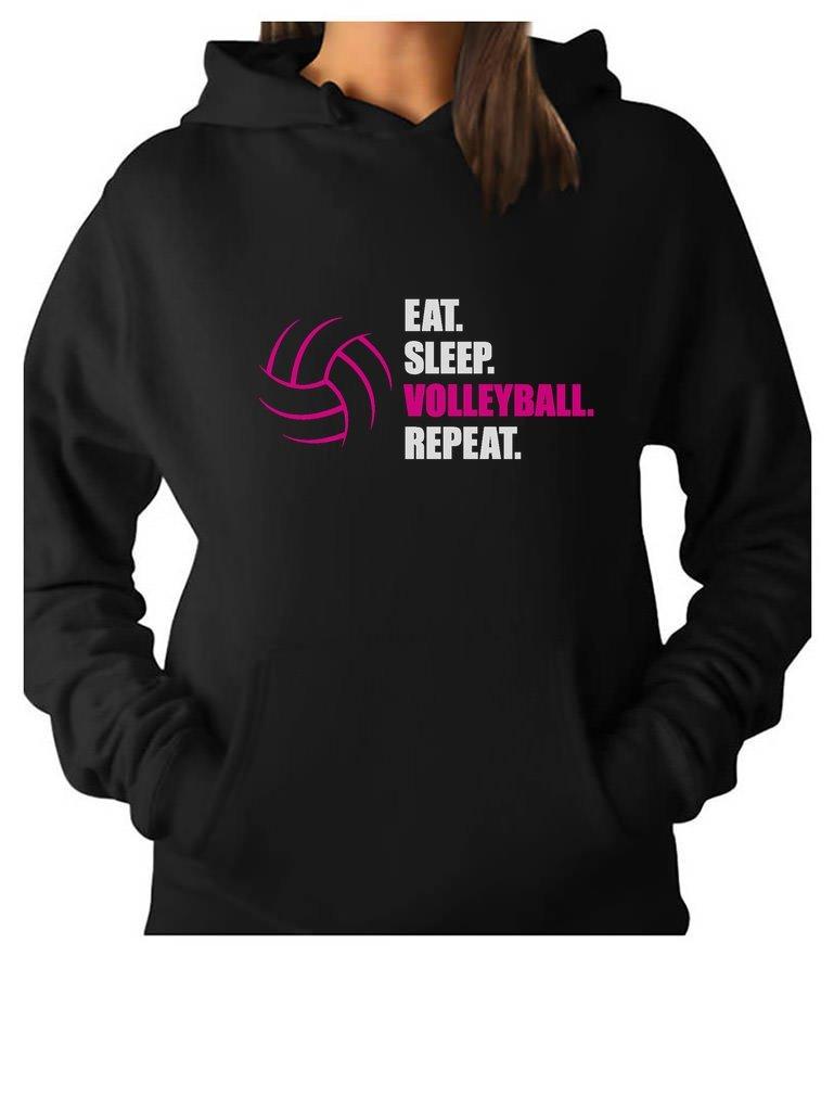 Tstars TeeStars - Eat Sleep Volleyball repeat Women's Volleyball Gift Women Hoodie Medium Black