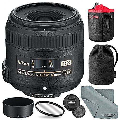 Nikon AF-S DX Micro-NIKKOR 40mm f/2.8G Close-up Lens with Neoprene Lens Pouch and Basic Accessory Bundle
