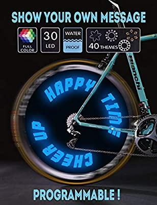 Words and Graph Programmable Bike Wheel Lights -Wireless Custom Message,Ultra Bright LED - Bicycle Wheel Spoke / Colorful Bicycle Tire Accessories- Waterproof