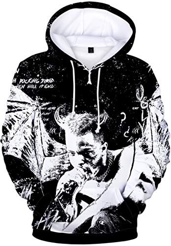 Bettydom Rapper RIP Xxxtentacion Hoodies Hip Hop Sweatshirt 3D Printed Novelty Hoodie(XS,A-Bat)