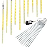 Meteor Lights, Pomelotree 50cm 10 Tubes 540 LED Meteor Shower Raindrop Snow Falling lights Upgraded Waterproof Cascading Lights for Xmas Wedding Party Holiday Garden Outdoor Tree Decorati (Warm White)