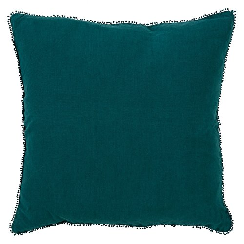 (SARO LIFESTYLE Pomponin Collection Pom Linen Down-Filled Throw Pillow, 20