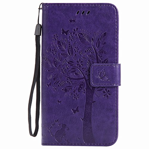 Yiizy Samsung Galaxy J7 (2017) Custodia Cover, Alberi Disegno Design Premium PU Leather Slim Flip Wallet Cover Bumper Protective Shell Pouch with Media Kickstand Card Slots (Porpora)