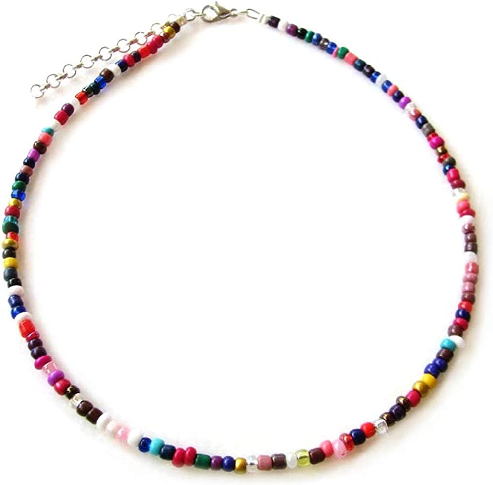 Collar de cuentas de arroz de colores a la moda para mujer, joyería de moda, gargantilla de cuentas, joyería de fiesta, regalo, decoración de cuello, bohemio, accesorios de joyería (color profundo)