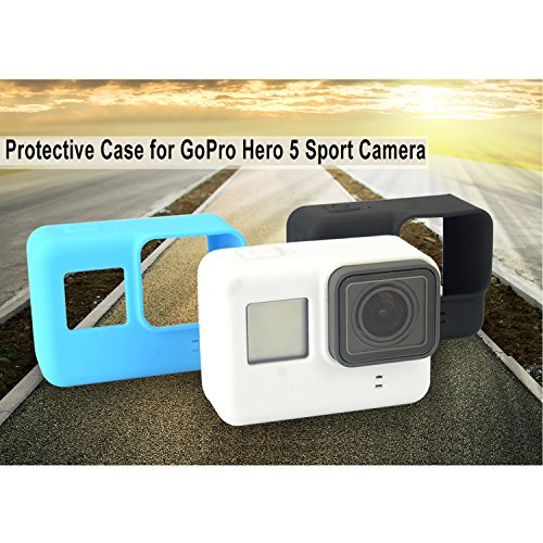 Oumers Silicone Cover/Protective Case for GoPro Hero 5 Sport Camera with Soft Silicone Lens Cap Cover Scratch-resistant LCD Screen Protector Lens Protector Cleaning Kits