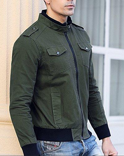 Lunga Casual Jacket Outwear Slim Quge Giacca Manica Uomo Corta Cappotti Giacche Verde Cappotto f1xqRwA