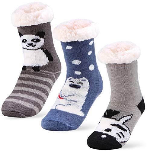 (Little Girls Boys Slipper Socks, Toddler Fuzzy Socks Home Socks Winter Socks (3 Pairs Cute A, 18-36 Months))