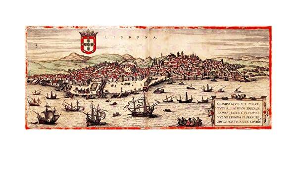 MAP ANTIQUE 1572 HOGENBERG LISBON CITY PLAN PORTUGAL LARGE PRINT POSTER LF1726
