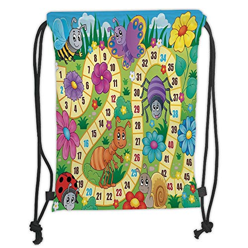 New Fashion Gym Drawstring Backpacks Bags,Board Game,Various Kinds of Animals Bee Butterfly Ant Ladybug Kids Theme Spring Meadow Decorative,Multicolor Soft Satin,Adjustable -