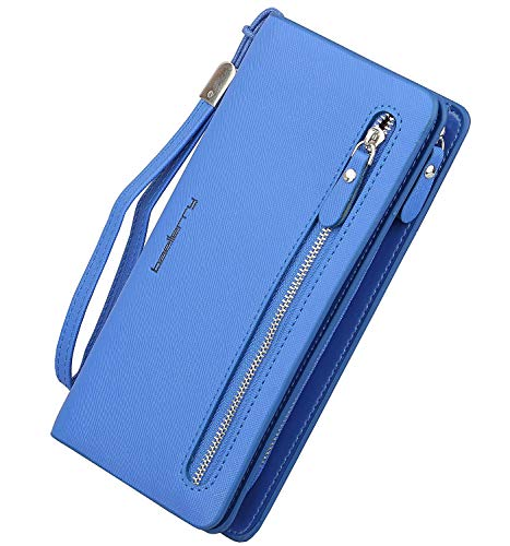 (Women`s Purse Zipper Cellphone Pocket for iPhone 6 plus / 8 / x, PU Leather Clutch Long Wallet Card Holders Wristlet Handbag)