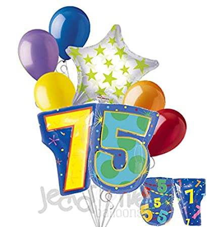 Image Unavailable Not Available For Color 8 Pc 75th Birthday Theme Balloon