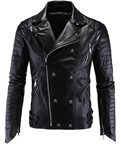 Studded Zip Front Jacket (Chouyatou Men's Fashion Skull Studded Asymmetrical Zip Quilted Pu Leather Jacket (Small,)