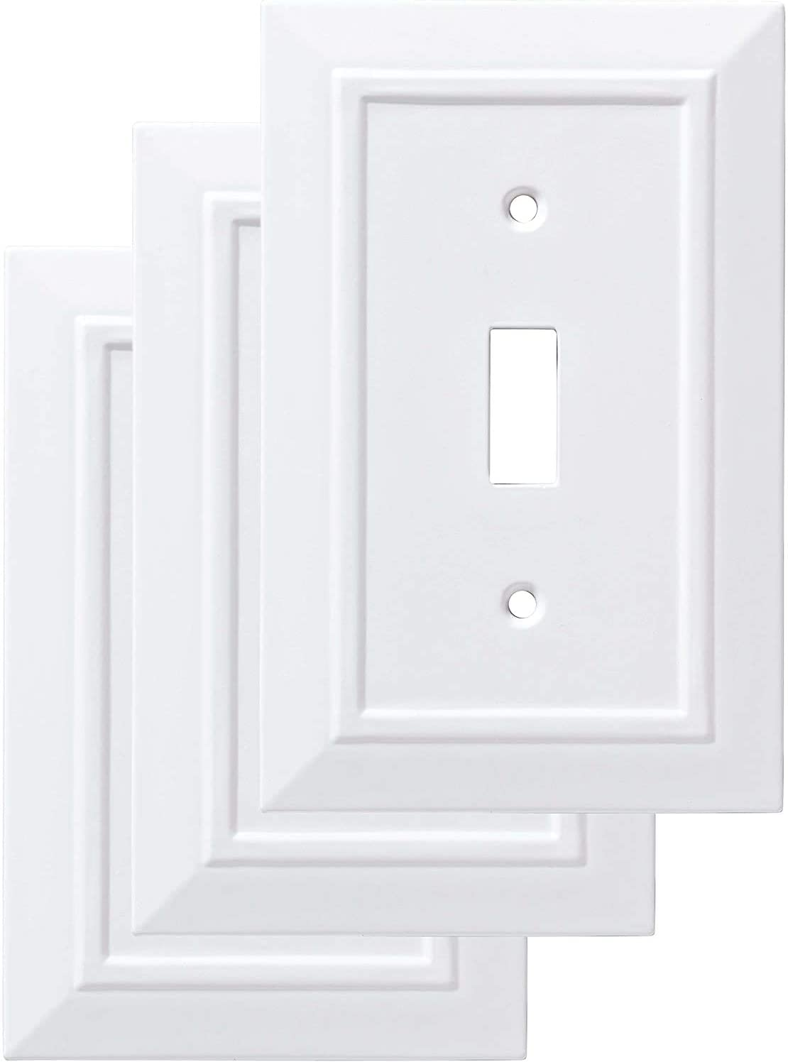 Franklin Brass W35241V-PW-C Classic Architecture Single Switch Wall Plate/Switch Plate/Cover, White, 3-Pack